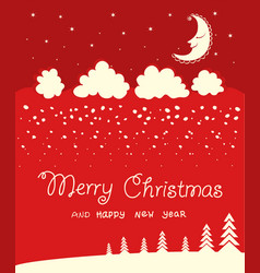 red christmas card background on winter moon vector image