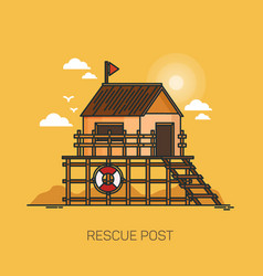 Rescue post at sand beach with lifebuoy vector