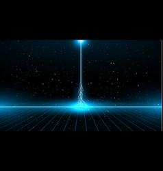 Retrowave sci-fi bright blue laser perspective vector