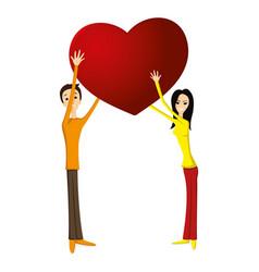 romantic couple holding love heart vector image