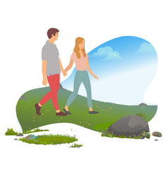 romantic weekend in mountains couple traveling vector image