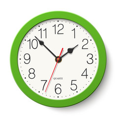 Round wall clock with green body isolated vector