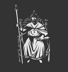 Russian tsar on the throne king vector