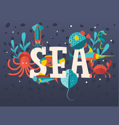 sea creatures in flat style typographic poster vector image