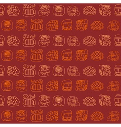 Seamless pattern with glyphs of the Mayan writing vector