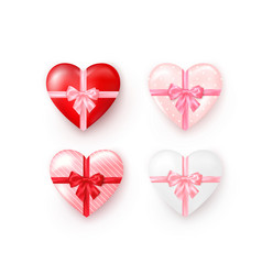 set heart shaped gift boxes with silk bow vector image