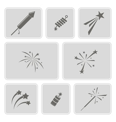set of monochrome icons with firework vector image