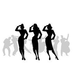 Silhouettes of three army girls in retro style vector