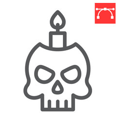 Skull with candle line icon halloween and scary vector
