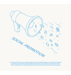 social promotion thin line design isometric vector image