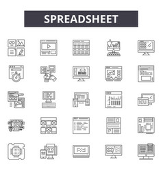 Spreadsheet line icons signs set linear vector