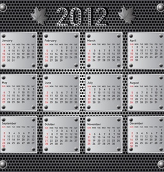 Stylish calendar with metallic effect for 2012 sun vector