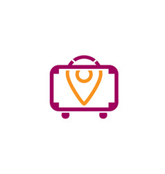 Suitcase travel finder symbol creative logo vector