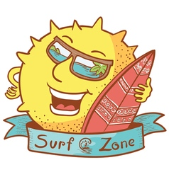 sun character with surfboard vector image vector image