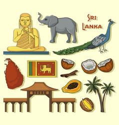 Symbols of sri lanka icons set vector