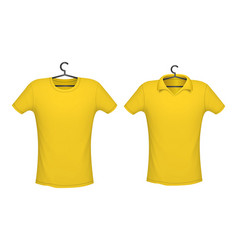 T-shirt and polo yellow color vector