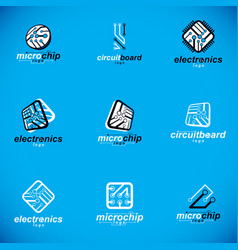 Technology innovation logos set abstract vector
