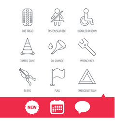 Tire tread traffic cone and wrench key icons vector