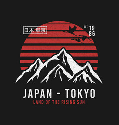 Tokyo japan t-shirt design with mountains crane vector