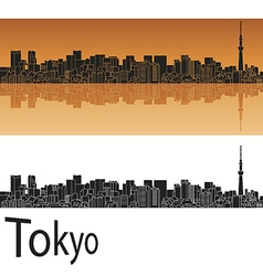 Tokyo V2 skyline in orange background in editable vector image