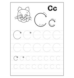 Tracing alphabet letter c black and white vector