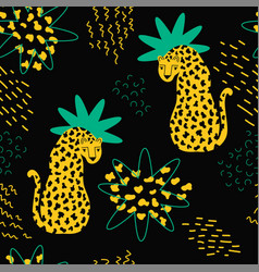 trendy style seamless pattern with leopards vector image