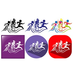 Triathlon icon in three designs vector