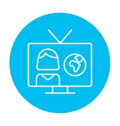 TV report line icon vector image