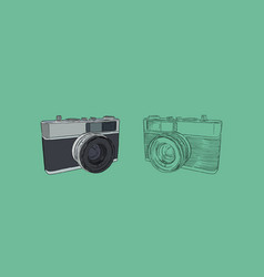Vintage rangefinder film camera sketch vector
