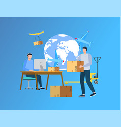 we deliver your cargo anywhere in world website vector image