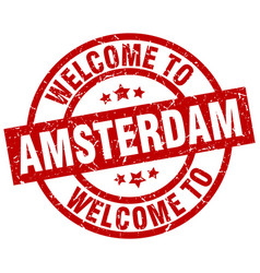 Welcome to amsterdam red stamp vector