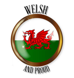 Welsh proud flag button vector