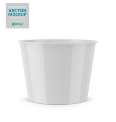 White glossy paper food bucket mockup vector