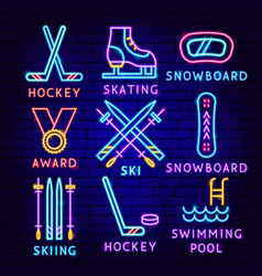 winter sport neon label set vector image