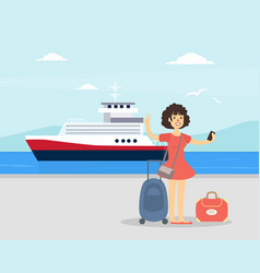 young woman with luggage standing in front of vector image