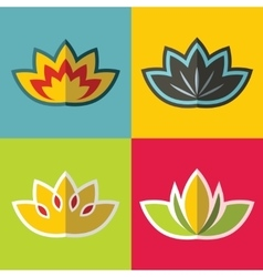 Color flowers in flat style on background vector image vector image