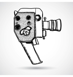 Doodle Vintage movie camera vector image