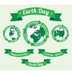 Earth day badge and retro style banner vector image