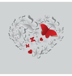 Heart of paper butterflies vector image vector image