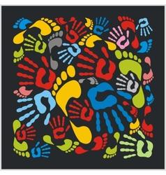 Mixed colour handprints and footprints - vector image