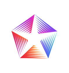 stylized linear colorful shape star logo design vector image vector image
