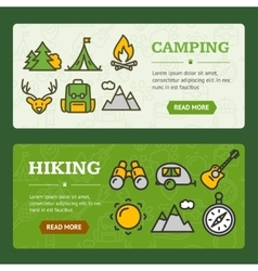 Camping Banner Horizontal Set vector image