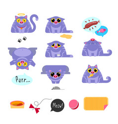 cat flat design icon set vector image vector image