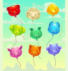 Colorful glossy flying animal-shaped balloons vector