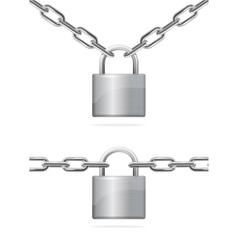 Metal Chain and Padlock vector image vector image