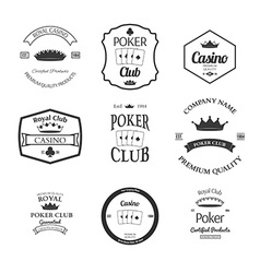 poker club and casino emblems set isolated vector image vector image