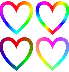 Rainbow gradient happy heart icon template set vector image vector image
