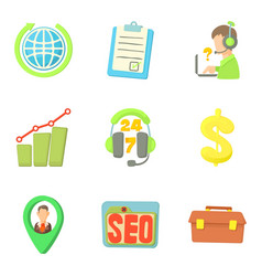 registration icons set cartoon style vector image vector image