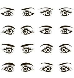 Set of black icons of eyes and brows vector image vector image