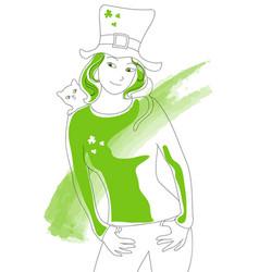 st patrick green lady vector image